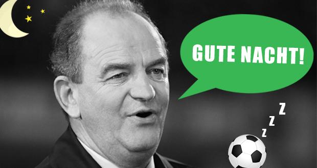 """Herbert Prohaska mit seinem klassischen Spruch """"Gute Nacht"""" beim Ende einer ORF Fussball-Übertragung"""
